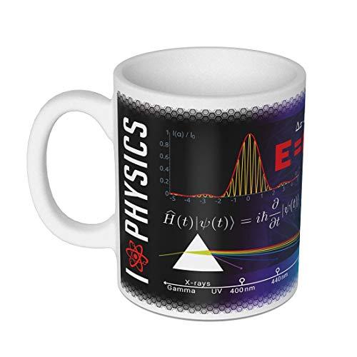 getDigital Wissenschaftsbecher Physik- Perfekte Kaffeetasse für Schüler, Studenten, Wissenschaftler-300 ml, Keramik, Schwarz Weiß, 8 cm