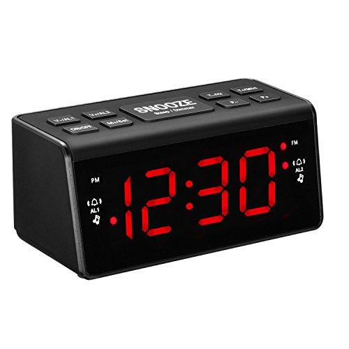 Digital FM AM Radiowecker Uhr Mit Nachtlicht-Funktion, Easy Snooze, Dual Alarm, Sleep-Timer – Anpassbare Helligkeitsregulierung