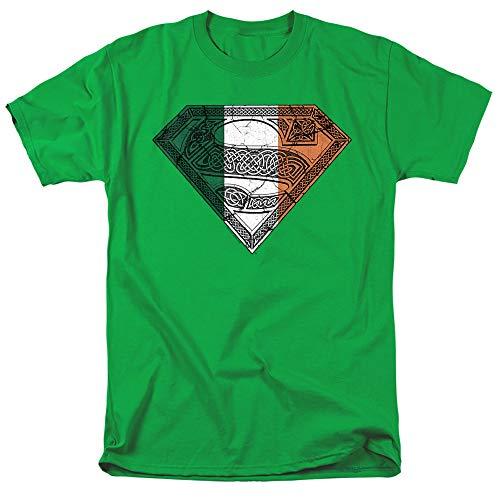 Superman Irish Celtic Shield Unisex Adult T Shirt for Men and Women, Kelly Green, X-Large