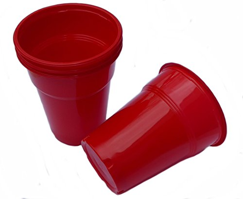 50 stuks drinkbekers, plastic bekers, bierbekers, partybekers, 0,4 l 400 ml rood