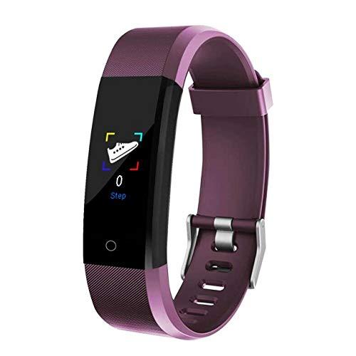 HUAKLIN Pulsera Inteligente 115 Más Presión Arterial Fitness Tracker Smart Watches Hombres Monitor De Frecuencia Cardíaca Impermeable Smart Wristband Tracker púrpura