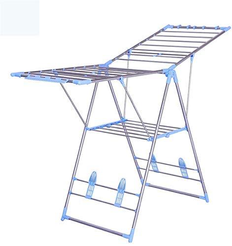 Tendedero eléctrico Plegable Decking Rack Ropa Aérez Ajustable Gullwing Lavandería Secado Estante Acero inoxidable Estante de secado para exteriores al aire libre con soporte de zapato Acero inoxidabl