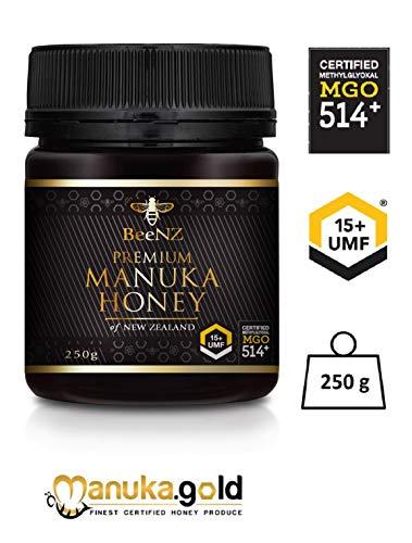 Manuka Honig BeeNZ MGO514+ UMF15+ 250g pur, original und authentisch aus Neuseeland, zertifizierter Methylglyoxal Gehalt