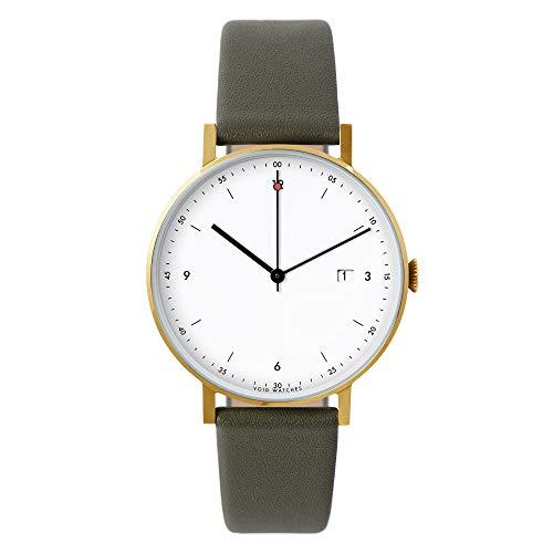 Pkg 01–Toque Minimalista, analógico Reloj de Pulsera de Void Watches Mate Oro Cepillado Carcasa & Olives Pulsera de Piel