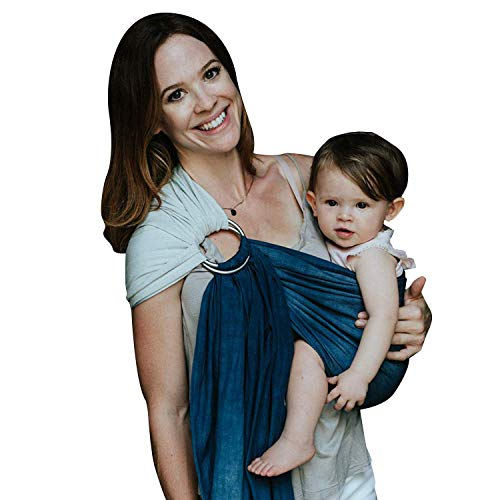 Nalakai Luxury Ring Sling Baby Carrier – Extra-Soft Bamboo and Linen Fabric - Lightweight wrap - for Newborns, Infants and Toddlers - Perfect Baby Shower Gift - Nursing Cover (Ocean Tide)