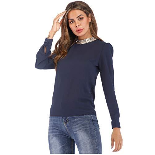 Xmiral Bluse Damen Sequin Rundhals Shirt Einfarbig Elegant Hemden für Arbeit Geschäft Hochzeit Sweatshirt Pullover Wild Jumper Tops(Marineblau,M)
