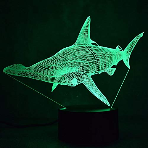 Only 1 Piece Shark 3D Colorful Led Small Night Light Children Toys Remote Touch Switch Lovely 7 Color Change 3D Lamp Kids Lights Lamps