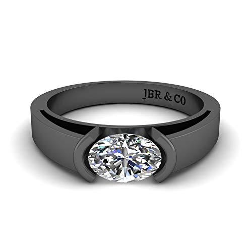 Jbr - Anillo clásico de plata de ley con diamante de corte ovalado con caja de regalo