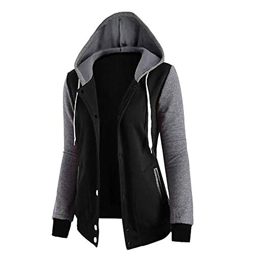 SLYZ Herbst Damen Damen Spleißen Kapuzen Taschen Langärmelige Druckknopf Jacke Damenpullover