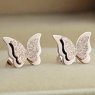 1 pair Titanium Steel 18K Rose Gold Scrub Butterfly Ear Studs Womens Fashion Earrings
