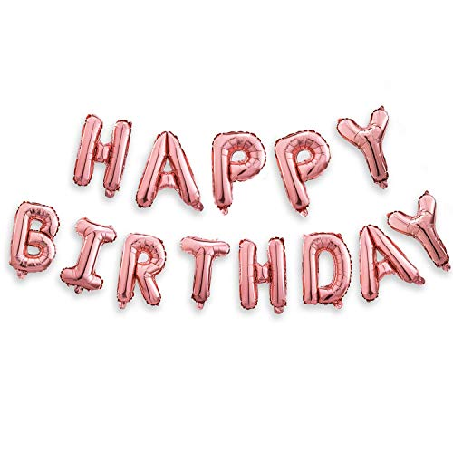 Happy Birthday Balloons Banner (3D Pink Lettering)