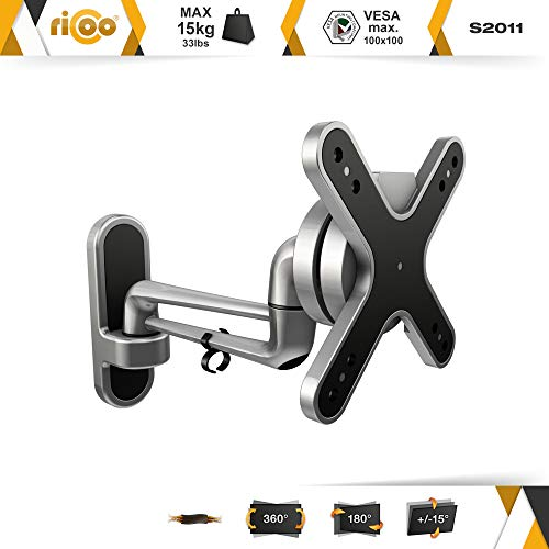 RICOO S2011 TV Wall Bracket Mount Tilt & Swivel Universal Monitor Mounting Holder Arm also for Curved 4K LCD LED…