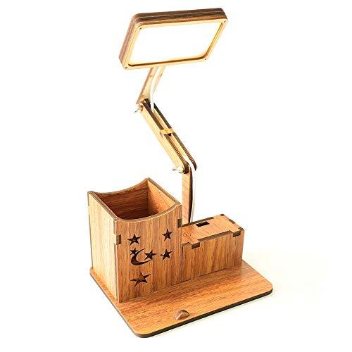 Lámpara de mesa LED recargable, de madera, con pincel y soporte para teléfono, base vintage, regulador de intensidad para el dormitorio