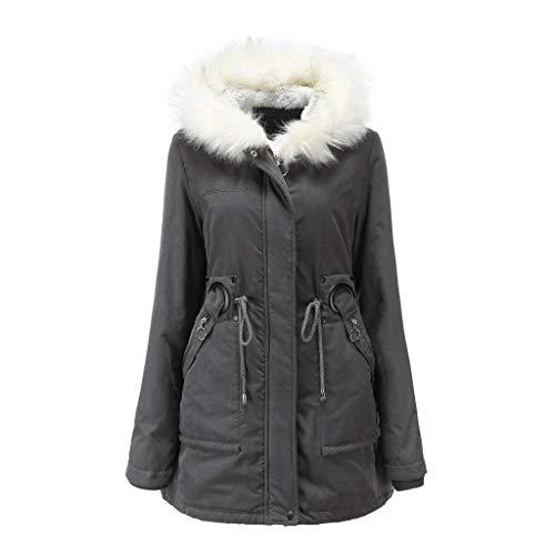 DNOQN Frauen Mode Feste Oberbekleidung Taschenjacken Plüsch Reißverschluss Gürtel Kapuzenmäntel Grau M