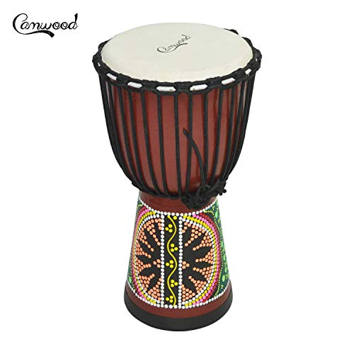 Fesjoy Camwood Tambor africano de madera de 8 pulgadas Djembe Bongo Congo Tambor de mano Percusión Instrumento musical Material de caoba con patrones coloridos
