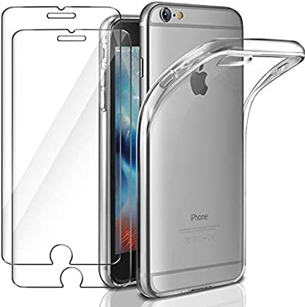 Funda + 2x Cristal para iPhone 6 / 6s, Leathlux Transparente TPU Silicona [Funda + 2 Pack Vidrio Templado] Ultra Fino Protector de Pantalla 9H Dureza + Flexible Back Case Cover para iPhone 6s / 6