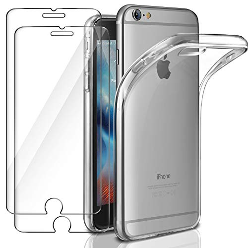 Leathlux Funda + 2X Cristal para iPhone 6 / 6s, Transparente TPU Silicona [Funda + 2 Pack Vidrio Templado] Ultra Fino Protector de Pantalla 9H Dureza + Flexible Back Case Cover para iPhone 6s / 6