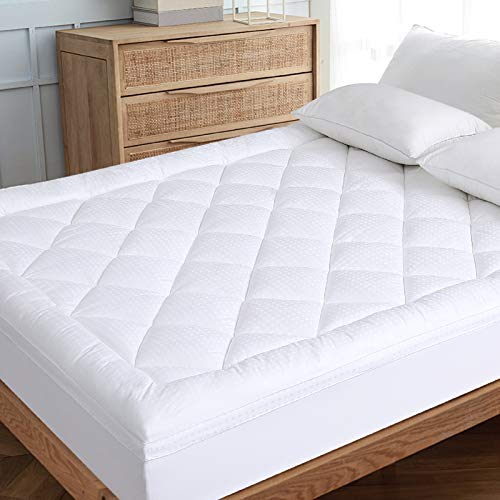 """EDILLY Queen Extre Thick Mattress Pad Cooling Mattress Topper Cover Cotton Top Pillow Top with Hypoallergenic Down Alternative Fill(8-21"""" Fitted Deep Pocket Queen Size)"""