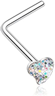 20G Heart Glitter Sparkle L-Shaped Nose Ring
