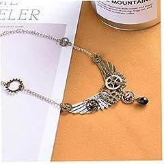 Women Vintage Punk Angel Wings Gear Statement Necklaces Pendants Retro Chain Necklace Ladies Steampunk Jewelry #2