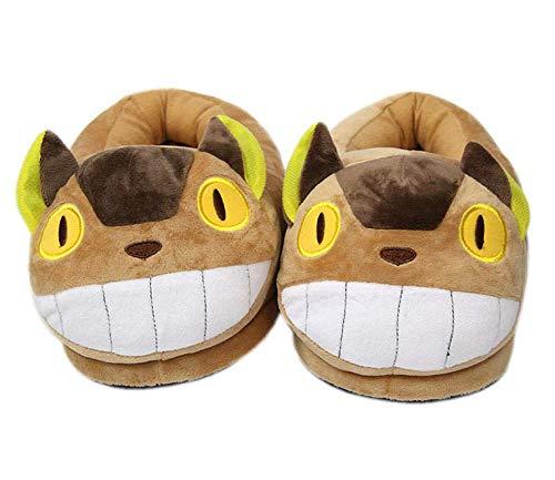 GLEYDY Totoro Plüsch Hausschuhe Kuschelige Katze Pantoffeln Warm Plüsch Hausschuhe Winter Bequeme rutschfeste Slippers Herren Damen