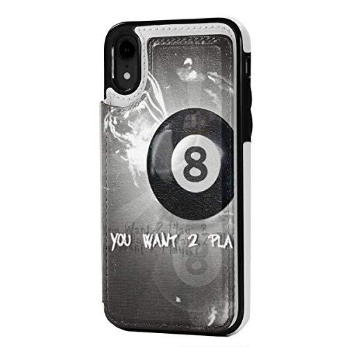 N/A Leder-Schutzhülle für iPhone XR 6,1 Zoll (6,1 Zoll), Kartenfächer, Billardkugel-Aufdruck, kratzfest, stoßfest, weiche TPU-Hülle