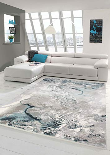 Wollteppich Marmorteppich Moderner Teppich Abstrakt in Grau Blau Creme Größe 80x150 cm