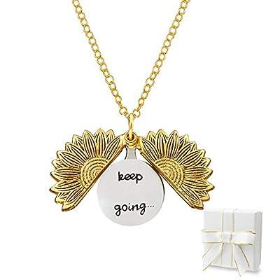 Fruholt Engraved Sunflower Necklace Pendant wit...