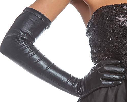 jowiha® Lange Leder Optik Handschuhe in Schwarz ca. 53 cm