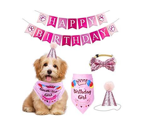 YUIP Pet Alles Gute Zum Geburtstag Dekorationsset Hund Alles Gute Zum Geburtstag Entzückende Hut Banner Süße Halstuch Krawatten Welpe Geburtstag Dekoriert (Pink)