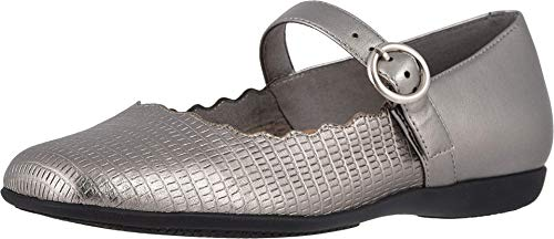 Trotters Women's Sugar Mary Jane Flat, Pewter, 10.5 M US