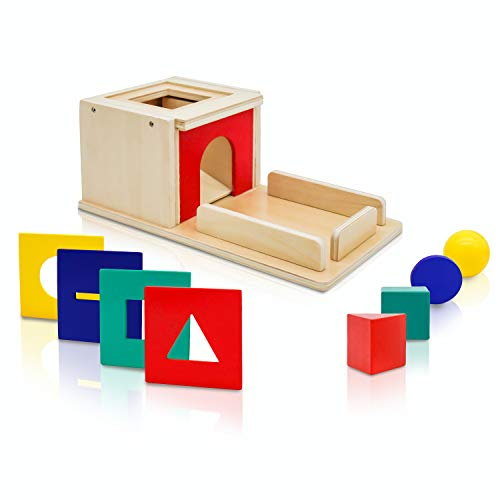 Templeton Educational Wooden Montessori Shape Sorter and Object Permanence Learning Toy for Babies,Toddlers and Children