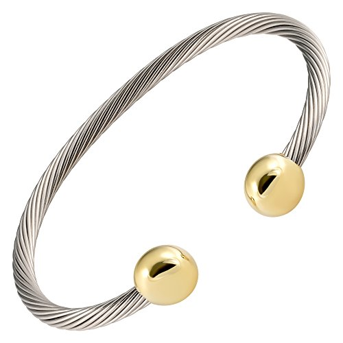 MAGNETJEWELRYSTORE 2 Tone All Stainless Steel Magnetic Therapy Bracelet