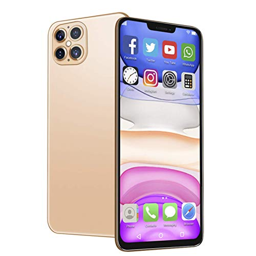 Dpofirs Teléfono Desbloqueado de 128GB, I12 Pro 6.6 '' HD 480x1014 Pantalla Waterdrop, 2 + 32G Tarjetas duales Smartphone de Doble Modo de Espera, Batería de 4800mAh para Android 10.0 Gold(Dorado)