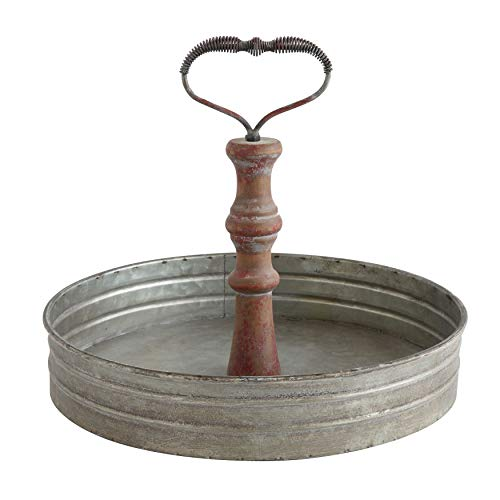 Creative Co-op Round Metal & Wood Handle Decorative Wood Tray, Silver