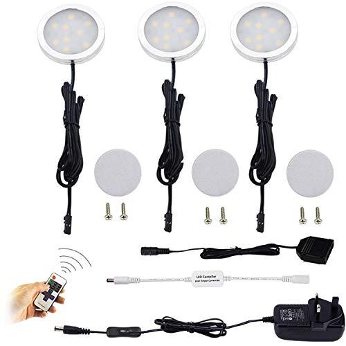 Aiboo LED-Leuchtmittel für die Küche, 3 x 2 W, 12 V, dimmbar, mit UK-Stecker, für Küchenbeleuchtung, Bücherregal, unter Tresenbeleuchtung, Akzentbeleuchtung - Warmweiß (2.700 K)