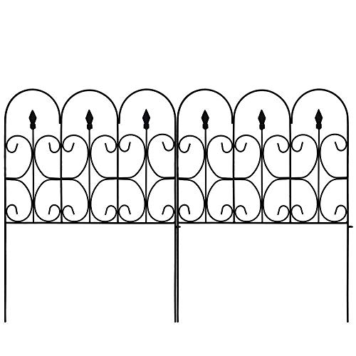 Amagabeli Decorative Garden Fence Outdoor Coated Metal Rustproof 32in x 10ft Landscape Wrought Iron Wire Border Folding Patio Fences Flower Bed Fencing Barrier Section Panels Decor Picket Edging Black