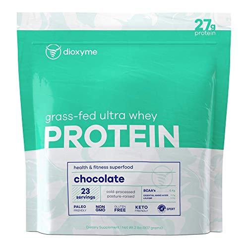Dioxyme Grass Fed Ultra Whey Protein Powder - Whey Isolate and Concentrate Protein Blend – 27gm Protein/Serv - Sustained Muscle Repair - 4.2lb (Raw & Unflavored)