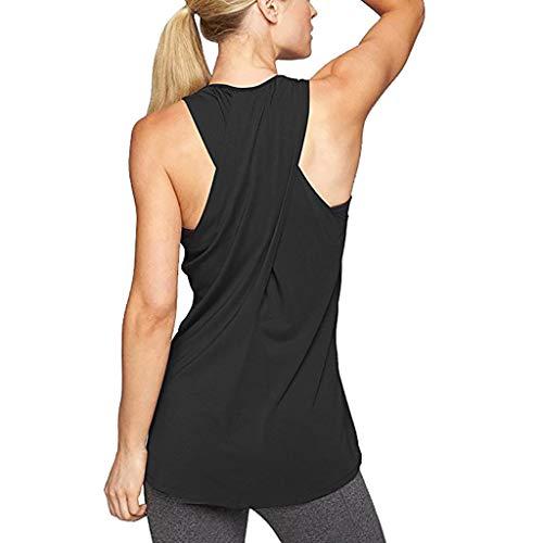Fenverk Damen Sport Tops Mit Integriertem BH - 2 In 1 Yoga Gym Shirt Fitness Training Tanktop Tank Top RüCkenfrei Oberteil äRmellos Amen Freizeit Trainings äRmelloses(Schwarz 2,M)