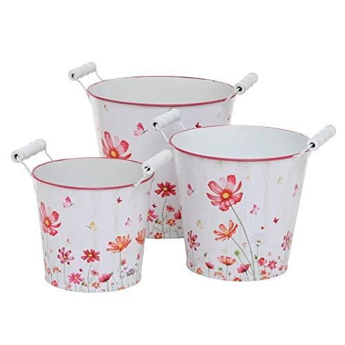 CasaJame Casa Giardino Arredamento Accessori Organizzazione Decorazione Set Di 3 Vasi Portavasi Per Piante E Fiori Zinco Bianco Rosa Motivo Floreale Dimensioni Assortite