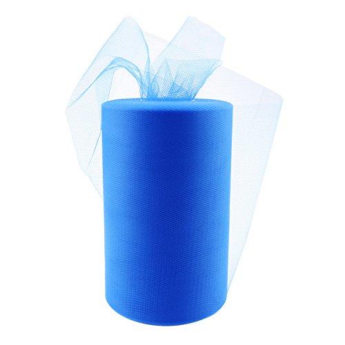Paor 100 Yardas 15cm de ancho Tela de cinta de tul para la decoración de la fiesta Wraping Craft Bow Girl Tutu Color Verde oscuro/rosa / púrpura Amarillo limón/Azul marino/Blanco (Dark Blue)