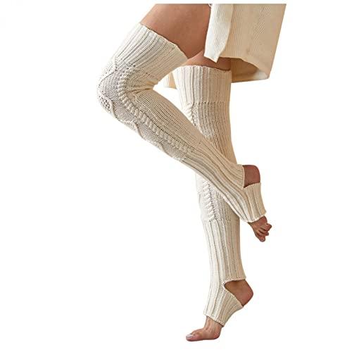 JDGY Calcetines largos de punto por encima de la rodilla, calcetines de Navidad, calcetines térmicos, calcetines de invierno, calcetines altos por encima de la rodilla, Blanco, F