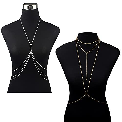 XUBX 2 piezas Cadena del Cuerpo, Mujeres Sexy Layered Harness Crossover Bikini Cadena Playa Collar Joyería del Cuerpo, Body Jewelry Cadena de cintura, Joyería de Cuerpo, Cadena cruzada