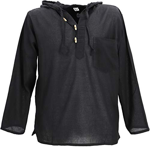 GURU SHOP Nepal Hemd, Goa Hippie Sweatshirt, Yogashirt, Schlupfhemd mit Kapuze, Herren, Schwarz, Baumwolle, Size:XL, Hemden Alternative Bekleidung