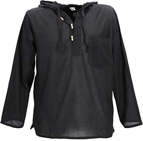 Guru-Shop Nepal Hemd, Goa Hippie Sweatshirt, Herren, Schwarz, Baumwolle, Size:M, Männerhemden Alternative Bekleidung