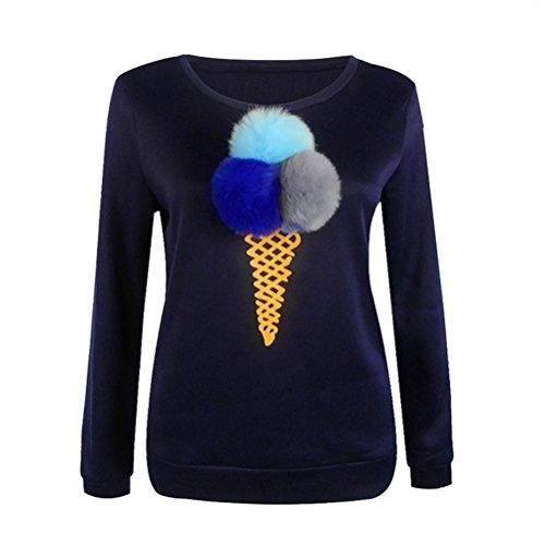 OULII Femmes Casual Manches Longues crème glacée cône imprimé Puffer Ball Sweatershirt Taille S (Bleu Marine)