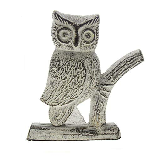 Comfify Cast Iron Owl Door Stop | Decorative Door Stopper Wedge | with Padded Anti-Scratch Felt Bottom | Vintage Design | 6x6.5x6.3 (Antique White)