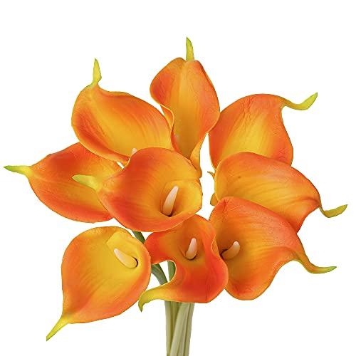 Künstliche Calla Lily 10 Stück Kunstblumen Calla Lataex Blumensträuße Wahre Berührung künstliche Seidenblume für Hochzeit Party Blumengesteck Home Küche Dekoration
