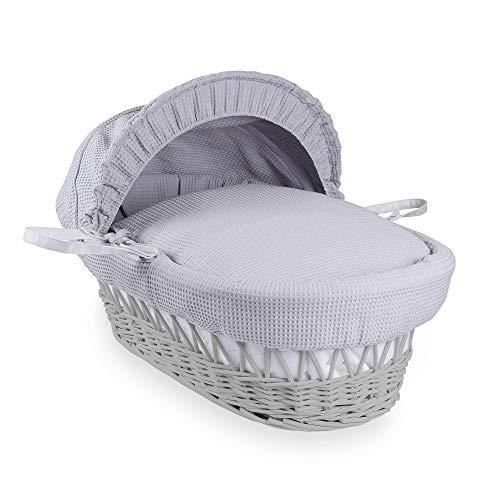 Clair de Lune Couffin en osier, tissu gaufré, gris