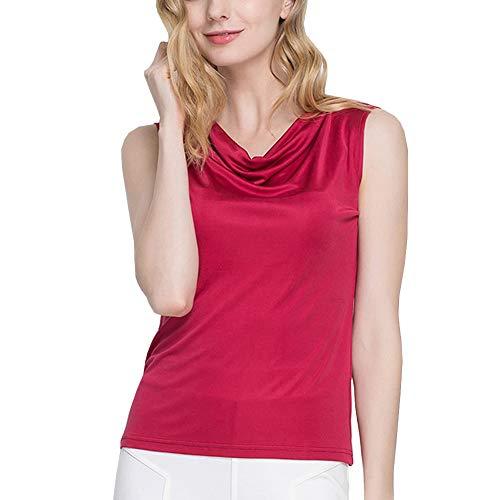 DISSA Camiseta de tirantes de seda para mujer, cuello redondo, informal, de seda, AS1153 granate 38